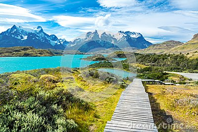 Pehoe lake and Guernos mountains landscape, national park Torres del Paine, Patagonia, Chile, South America