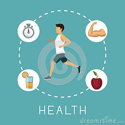 Color background with sport man running in center with chronometer orange juice muscle arm and apple fruit around text