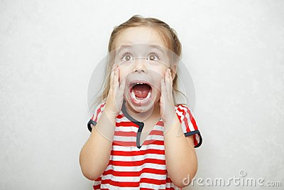 Girl experiencing and expressing emotion of fright and fear