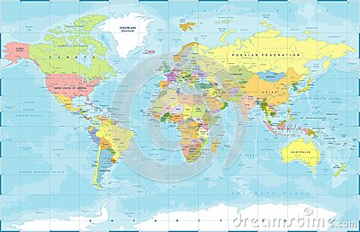 Political Colored World Map Vector