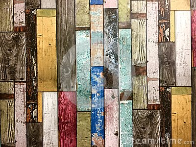 Rustic colorful wooden boards background.