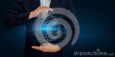 Earth polygon mesh planet World Map In the hands of a businessman network technology and communication Space input data
