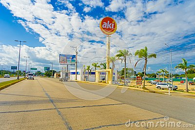 Puerto Morelos, Mexico - January 10, 2018: Outdoor view of informative sign located at one side of the highway of Puerto