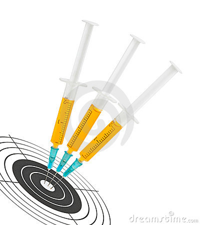 Syringes and target