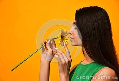 Young pretty woman smell yellow gerbera flower in green dress