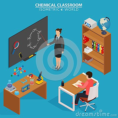 Chemical classroom. School education isometric design concept with teacher at blackboard and pupil in classroom.