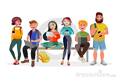 Young people gather together with gadgets. Youth spending time, walking, working and smiling. Men and women in casual
