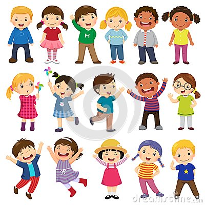 Happy kids cartoon collection. Multicultural children in differe