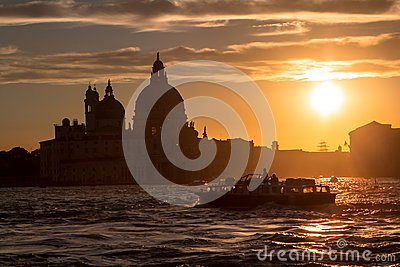 Sunset behind the Church of Madonna Della Salute in Venice