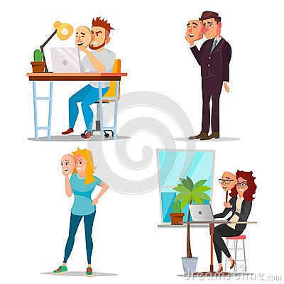 Fake Person Set Vector. Bad, Tired Man, Woman. Deceive Concept. Business People Wear Smile Mask. Isolated Flat Cartoon