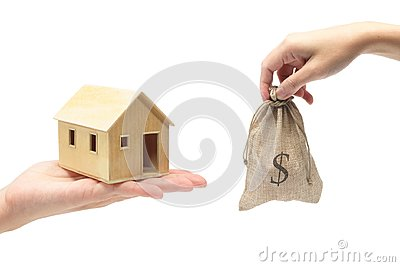 Selling of house on white background