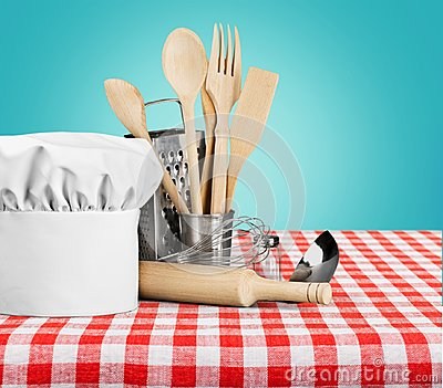 Kitchen Utensil with cook Hat isolated on