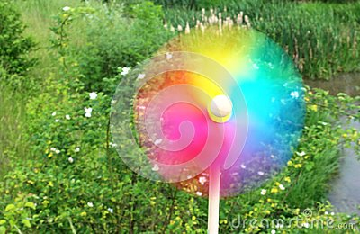 Colorful pinwheel in motion, in front of a green garden