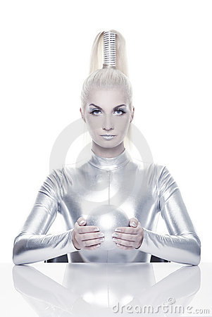 Cyber woman with silver ball