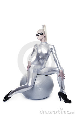 Cyber woman sitting on a silver ball