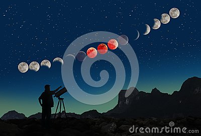 Super blue blood moon eclipse sequence and man with telescope