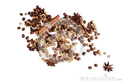 Coffee beans, star anice, cinnamon on a white bacground. Isolat