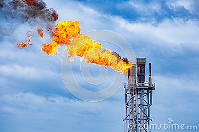 Fire on flare stack at oil and gas central processing platform while burning toxic and release over pressure.