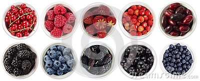 Black-blue and red berries isolated on white background. Collage of different fruits and berries. Blueberry, blackberry, mulberry,