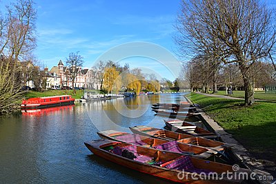 River Cam at Jesus Green in Cambridge UK with punts