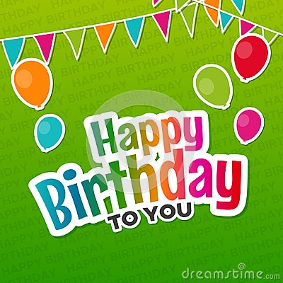 Happy Birthday to you Greeting Card with Balloons. Eps10 Vector.