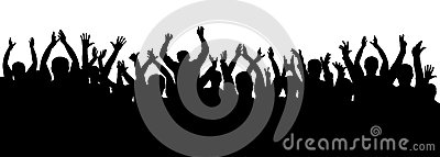 Applause crowd silhouette, cheerful people. Concert, party. Funny cheering, isolated vector.