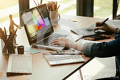 stock image of graphic design working with computer creative,designer job work.