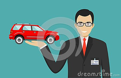 Car showroom. Big sale. Manager sells new business class automobile. Detailed illustration of businessman and red auto