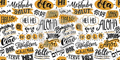 Text seamless pattern with word hello in different languages. French bonjur and salut, spanish hola, japanese konnichiwa