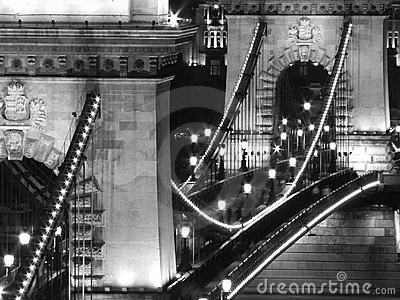 Chain Bridge at night (Budapest, Black and White)