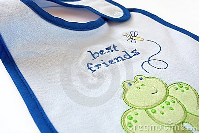Blue fleecy baby bib