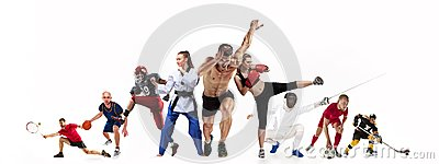 stock image of sport collage about boxing, soccer, american football, basketball, ice hockey, fencing, jogging, taekwondo, tennis