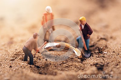 Gold digging or archaeology concept