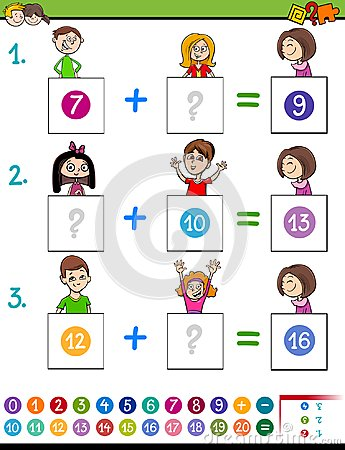 Maths addition educational game with funny kids