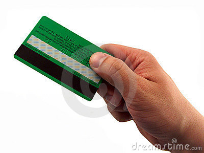Man hand paying with card