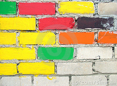 Colourful bricks wall