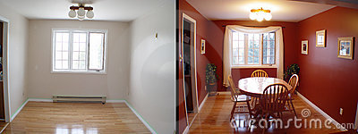Before and after of dining room