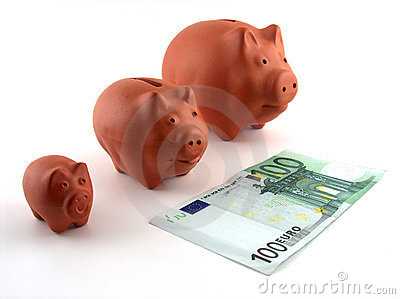 Family of pig money boxes