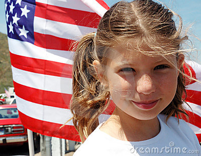 Girl and flag