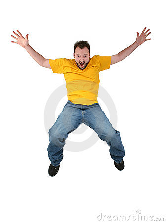 Casual Man Screaming And Falling