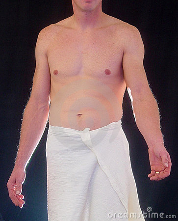semi nude male with arm outstretched