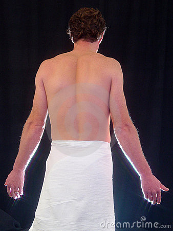 back view of topless man