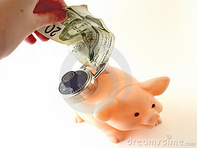 Locked piggy bank and cash