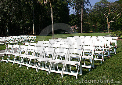 Rows of white chairs