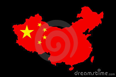 A map of China with her flag on it