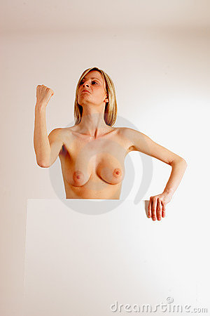 Naked woman with blank board 1