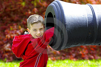 Young Boy WIth Hand In Cannon
