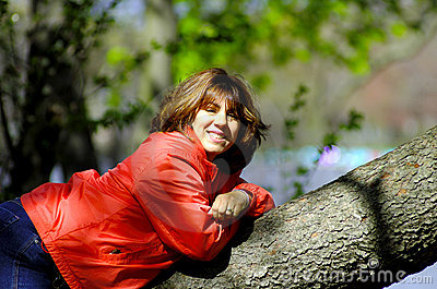 Woman on Tree Limb