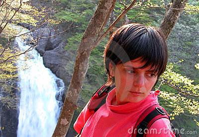 Girl,forest and waterfall