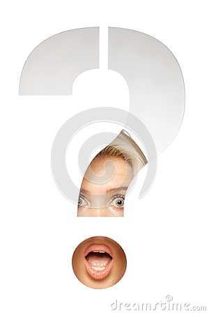 Blond girl behind a question mark sign
